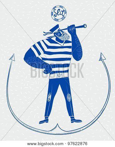 The Mighty Cartoon Sailor With Spyglass.