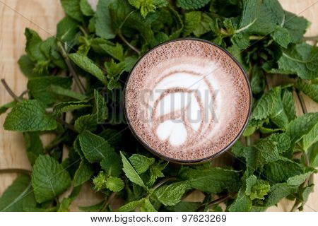 A Useful And Healthy Mint Cocoa In Fragrant Mint Twigs.