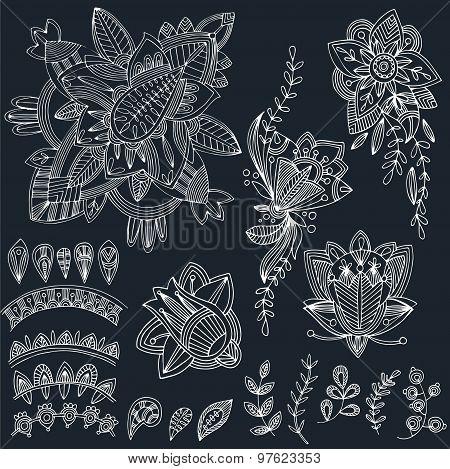 Mehndi Tattoo Doodles Set 2- Abstract Floral Illustration Design Elements On Black Background
