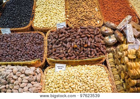 Nuts and dry fruits at a market
