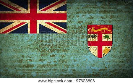 Flags Fiji With Dirty Paper Texture. Vector