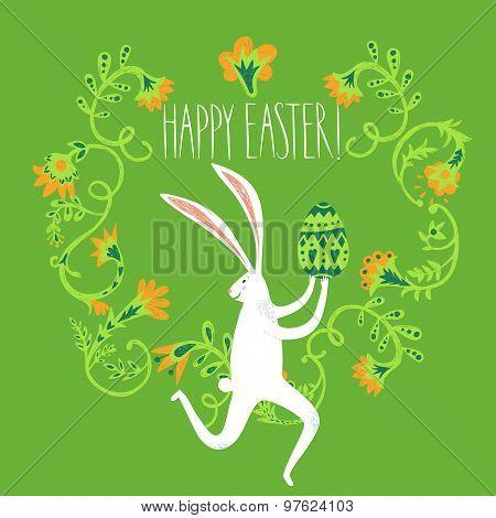 Easter Rabbit Cyclist Illustration