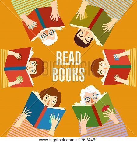 Set Of Cartoon  People Reading Books