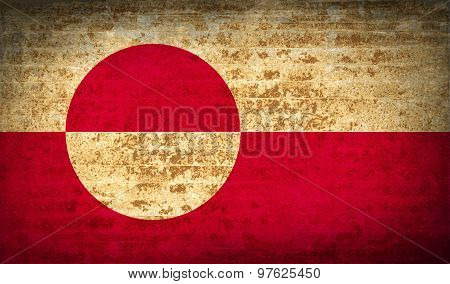 Flags Greenland With Dirty Paper Texture. Vector