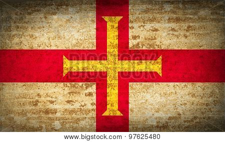 Flags Guernsey With Dirty Paper Texture. Vector