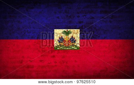Flags Haiti With Dirty Paper Texture. Vector