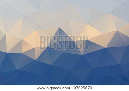 Blue Yellow White Abstract Geometric Rumpled Triangular