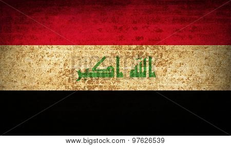 Flags Iraq With Dirty Paper Texture. Vector