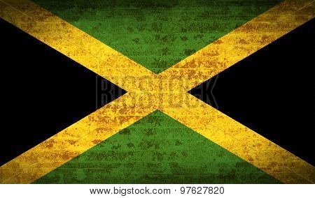 Flags Jamaica With Dirty Paper Texture. Vector