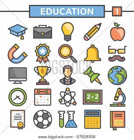 Education flat line icons set