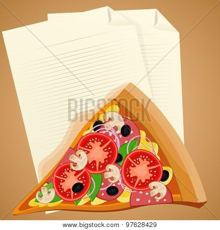 Pizza Slice With Check List. Lunch Break Concept