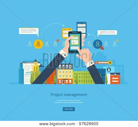 Flat design illustration concepts for business analysis and planning, consulting, team work, project