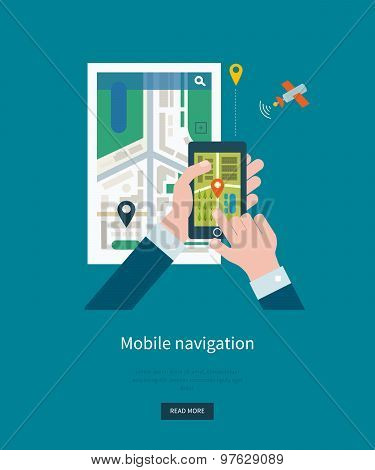 Vector illustration concept of  holding smart-phone with mobile navigation. Maps navigation for smar