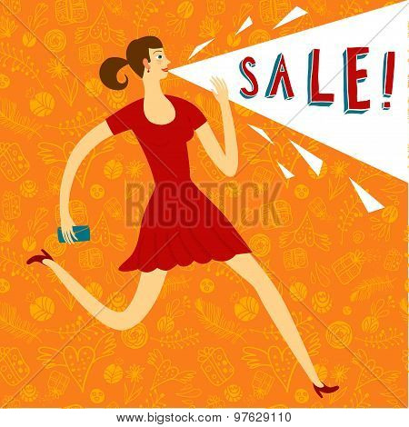 Woman With Speach Balloon Sale Illustration