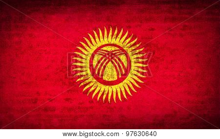 Flags Kyrgyzstan With Dirty Paper Texture. Vector
