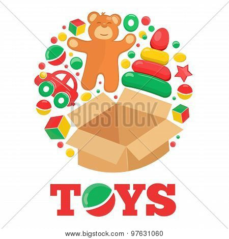 Round Logo With Open Brown Box Teddy Bear And Toys
