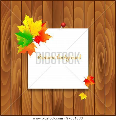 Natural background with wooden board and autumn leaves.