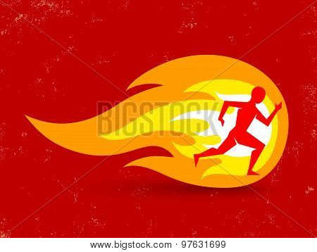 concept for running with man and fire