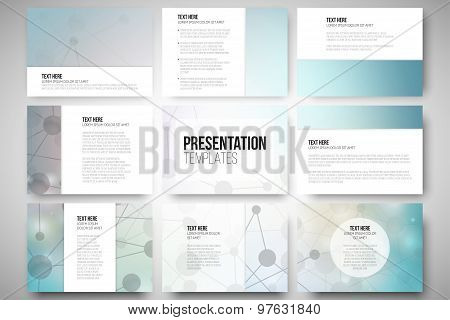 Set of 9 templates for presentation slides. Molecular structure design, blue scientific vector backg