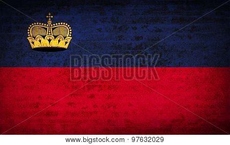 Flags Liechtenstein With Dirty Paper Texture. Vector