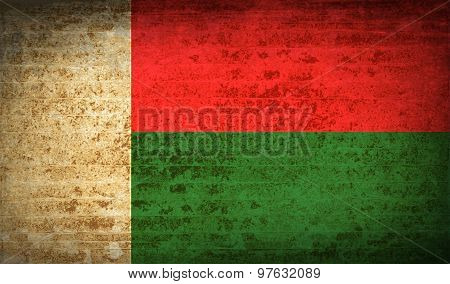 Flags Madagascar With Dirty Paper Texture. Vector