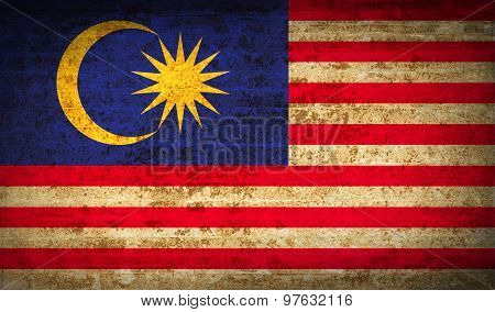 Flags Malaysia With Dirty Paper Texture. Vector