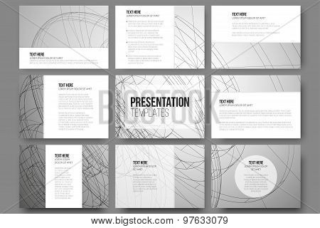 Set of 9 vector templates for presentation slides. Conceptual abstract scientific background, minima