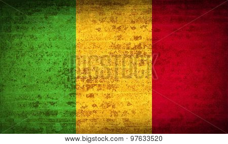 Flags Mali With Dirty Paper Texture. Vector