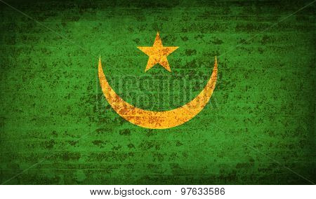Flags Mauritania With Dirty Paper Texture. Vector