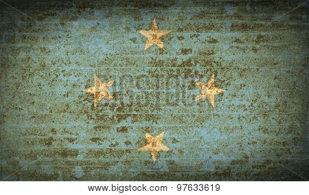 Flags Micronesia With Dirty Paper Texture. Vector