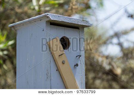 Blue wooden birdhouse