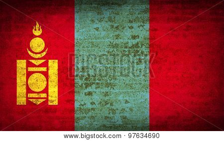 Flags Mongolia With Dirty Paper Texture. Vector