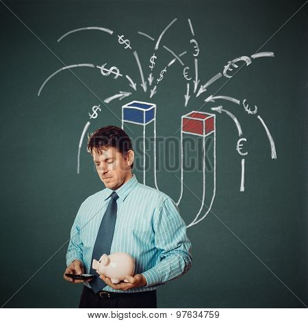 Businessman With Calculator, Piggy Bank And Money Magnet On Back