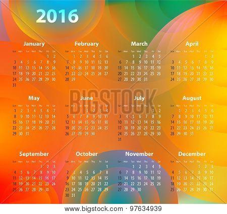 English Calendar For 2016 On Abstract Circles