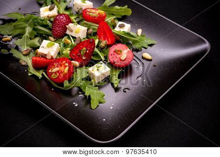 Strawberry Tomato Salad With Feta Cheese, Olive Oil