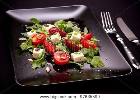 Strawberry, Tomato Salad With Feta Cheese, Olive Oil