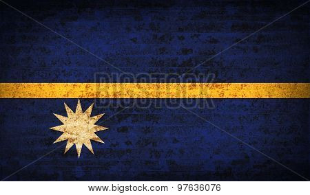 Flags Nauru With Dirty Paper Texture. Vector