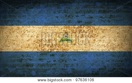 Flags Nicaragua With Dirty Paper Texture. Vector