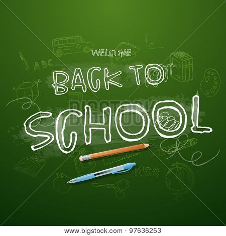Back to school Typographical Background On Chalkboard With School Icons Elements