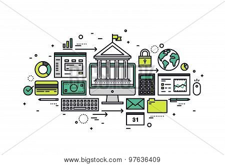 Online Banking Line Style Illustration