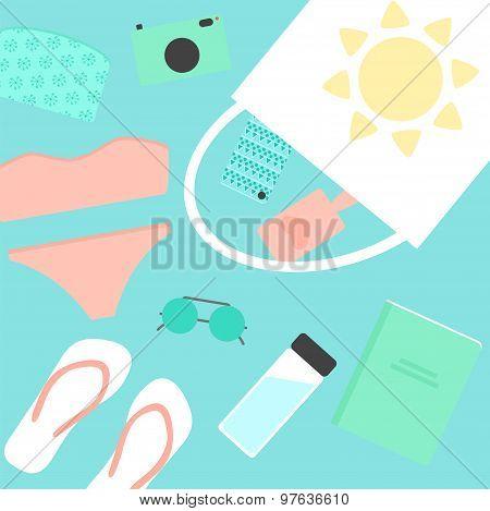 Beach stuff elements including swimwear, sunglasses, bag, water bottle, mobile phone, flip flops