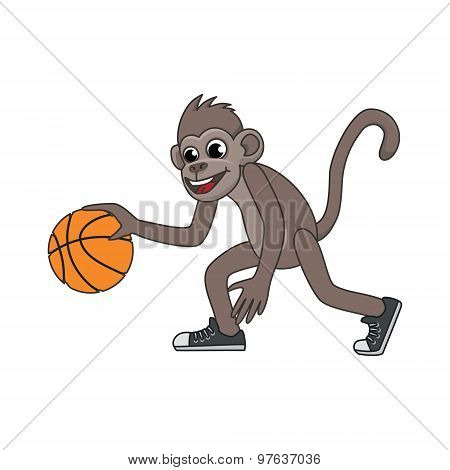 Vector Cartoon Monkey Playing Basketball