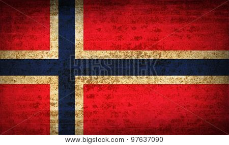 Flags Norway With Dirty Paper Texture. Vector
