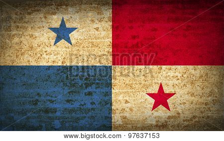 Flags Panama With Dirty Paper Texture. Vector