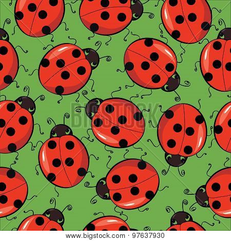 seamless background with ladybirds