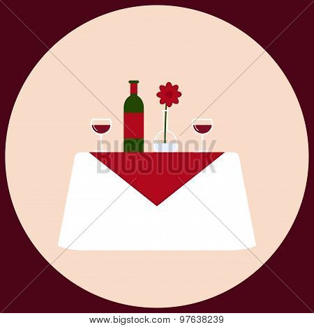 Romantic dinner for two white table with wine, stemware, vase and flower.