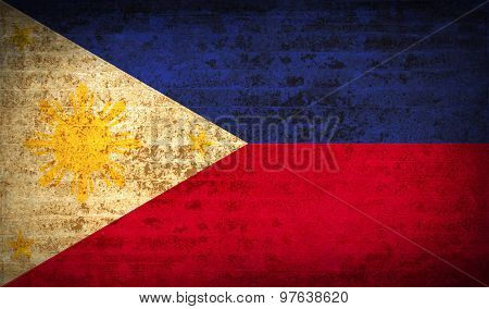 Flags Philippiines With Dirty Paper Texture. Vector