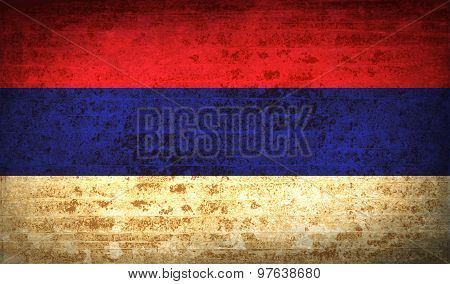Flags Republika Srpska With Dirty Paper Texture. Vector