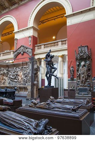 LONDON, UK - AUGUST 24, 2014:  Exhibition hall.  V&A Museum is the world's largest museum of decorat