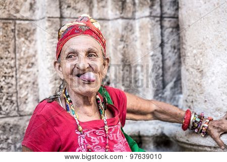 Portrait of a funny african cuban woman